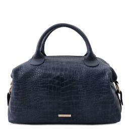 TL Bag Maxi Bolso a mano en piel suave efecto coco Azul oscuro TL142121