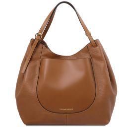 Cinzia Shopping Tasche aus weichem Leder Cognac TL142144