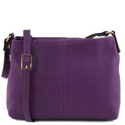 TL Bag Bolso con badolera en piel suave Violeta TL141720