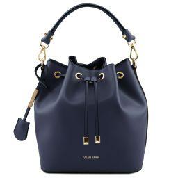 Vittoria Leather bucket bag Dark Blue TL141531