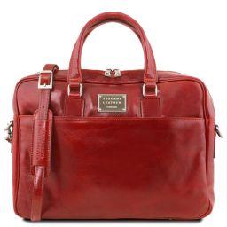 Urbino Notebook-Aktentasche aus Leder mit Vorderfach Rot TL141241