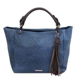 TL Bag Tasche aus geprägtem Leder Dunkelblau TL142066