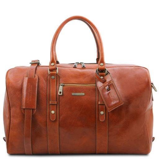 TL Voyager Leather travel bag with front pocket Honey TL142140