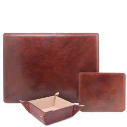 Premium Office Set Sottomano da scrivania, tappetino per mouse e vuotatasche in pelle Marrone TL142088