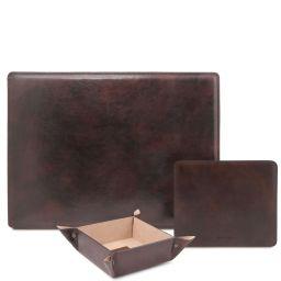 Premium Office Set Sous-main de bureau, tapis de souris et videpoches en cuir Marron foncé TL142088