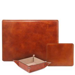 Premium Office Set Sous-main de bureau, tapis de souris et videpoches en cuir Miel TL142088