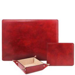 Premium Office Set Schreibtischunterlage, Mauspad und Schale aus Leder Rot TL142088