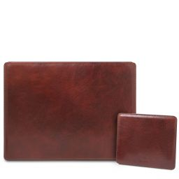 Office Set Leather desk pad with inner compartment and mouse pad Коричневый TL142161