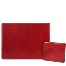 Office Set Sottomano da scrivania con ribalta e tappetino per mouse in pelle Rosso TL142161