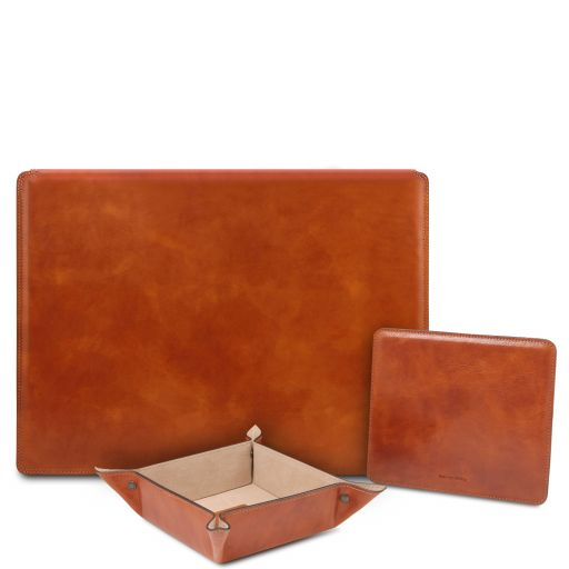 Premium Office Set Leather desk pad with inner compartment, mouse pad and valet tray Honey TL142162