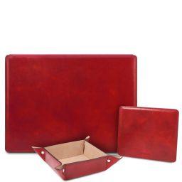 Premium Office Set Sottomano da scrivania con ribalta, tappetino per mouse e vuotatasche in pelle Rosso TL142162