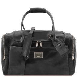 TL Voyager Reisetasche aus Leder mit 2 Reissverschluss - Seitentaschen Schwarz TL142141
