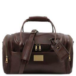 TL Voyager Sac de voyage en cuir avec poches aux côtés - Petit modèle Marron foncé TL142142