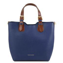 TL Bag Saffiano leather tote Dark Blue TL141696