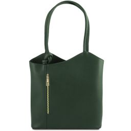 Patty Saffiano leather convertible bag Forest Green TL141455