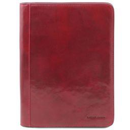 Lucio Exklusive Dokumentenmappe aus Leder mit Ringmechanik Rot TL141293