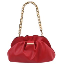TL Bag Soft leather clutch with chain strap Lipstick Red TL142184