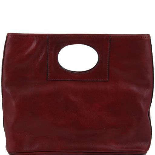Mary Leather bag with round cut-out handle Red TL140495