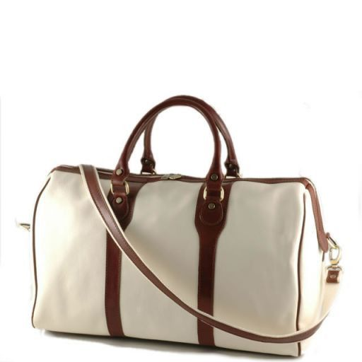 Oslo Travel leather bag - Yachting line White TL1044bis